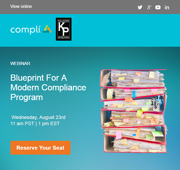 Webinar blueprint for a modern compliance program with michael compli killgore pearlman inviteg malvernweather Image collections